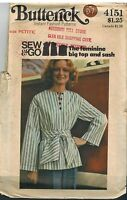 4151 Vintage Butterick Sewing Pattern Misses Loose Fitting Top Sash Petite Sew