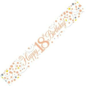 9ft White & Rose Gold Happy 18th Birthday Foil Banner Age 18 Party Decorations