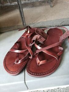 New Camel Genuine Leather Handmade sandals from Jerusalem size us 10 .5 or uk 43