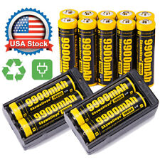 14X Powerful 18650 Battery 3.7v Li-ion Rechargeable Battery & 2X Charger USA