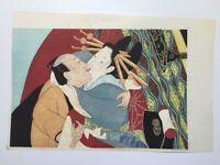 Japanese Woodblock Print 22.5×32cm Vtg Syunga Ukiyoe Woman Kimono Kanzashi L383