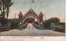 1906 BROCKTON MA Entrance to Highland Park, publ Thompson, to Mrs A.W. Gay