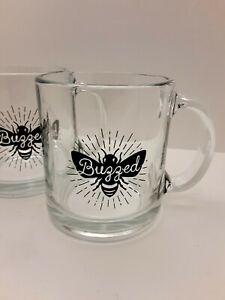 2 Glass Mugs Buzzed Bee Graphic
