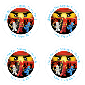 Personalised Ninjago Round Stickers labels Party bag Thank You 4cm