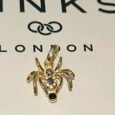Links of London 18k Yellow Gold Vermeil Spider Charm Pendant White Topaz Set