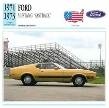 Ford Mustang Fastback V8 Sport  1971-1973 USA CAR VOITURE CARTE CARD FICHE