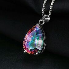Pear 5ct Natural Rainbow MysticTopaz Pendant Solid 925 S.S