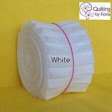 "20 x 2.5"" White Jelly Roll PreCut Fabric Strips, 2.5 inch X WOF, Die Cut, Cotton"