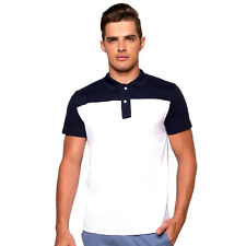 Newyork Army Men's Colour Block Polo Shirt - White/Navy Blue