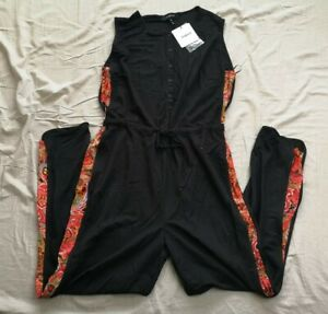Desigual Women's Black Floral Printed Sides Crayons Jumpsuit XL 16 New With Tags