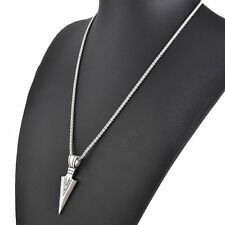 Pendant Stainless Steel Gold Silver Men's Arrow Long Chain Necklace Jewelry