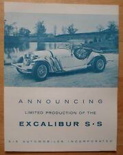 EXCALIBUR orig 1965 USA Mkt Rare Early Sales Brochure SS Automobiles Studebaker