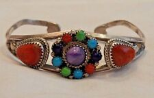 Running Bear Native American Sterling Silver & Colorful Stones Cuff Bracelet