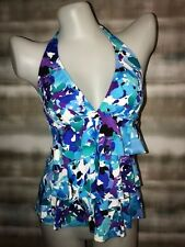 Caribbean Joe Swim Solutions Under Spell Floral Ruffle Tiered Tankini Top NWT 8