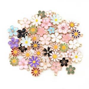 40Pcs Enamel Alloy Daisy Flower Charms Pendant Jewelry Findings DIY Craft Lots