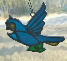 Stained Glass Suncatcher Window Ornament Vintage Blue Bird Blue jay Bluejay EUC