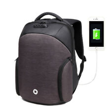 USB Charging Backpack Casual Anti-theft Computer Bag with Rainproof Cover & Comb