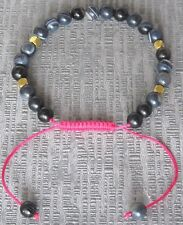 Semi Precious Stone Black Stripe Agate Drawstring Bracelet