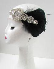 Noir Argent Vintage Coiffe Plume Années 1920 Great Gatsby Bandeau Diamant X02