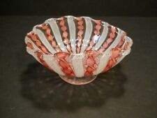 Murano Hand Blown Latticino Ribbon Glass Bowl Pink Ribbons with Gold Accent