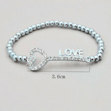 925 Sterling Silver Fashion Jewelry Key & Moon & Heart Charm Pendants Bracelet