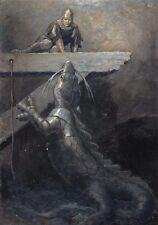 "perfact oil painting handpainted on canvas ""medieval knight and Dragon""@NO5360"