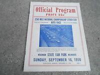 #MISC-3136 - SEPT 16 1956 CAR RACING program MILWAUKEE STATE FAIR w/ticket