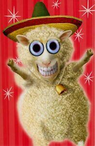 Christmas Twisted Whiskers Whimsical Lamb Fleece Navidad Greeting Card