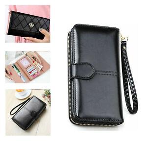 Women Ladies Leather Wallet Black Long Purse Wallet Zip Clutch Bag Multi Pockets