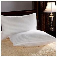 220 TC 100 % Cotton Strip Luxury White Cushion Cover Pillow Case 2 PC Set