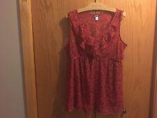 Women's Old Navy Red Flower Ruffle Sleeveless Shirt Size L