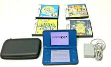 Blue Nintendo DSi  XL & Carrying Case Charger 4 Games & Cases Plants Zombies