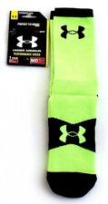 Under Armour Performance Super Man Logo Green & Black Crew Socks Men's M NWT