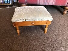 Footstool Vintage Padded Fabric Top plus wooden drawer