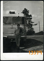 Vintage Photograph, bus driver w cigarette, coach IKARUS 1960's Hungary