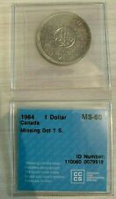 1964 Canada Silver Dollar Coin, 80% Silver, Graded ICCS MS63 - Missing Dot