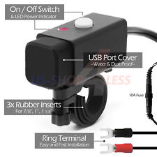 Waterproof Motorcycle 12V Ring Termina 2x USB Charger Adapter Cable Mount Phone