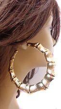 LARGE 3 inch HOOP EARRINGS Bamboo earrings - Old School GOLD TONE BAMBOO HOOPS