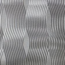 Luxury Foil Wave Metallic Feature Vinyl Wallpaper - Silver - Arthouse- 294501