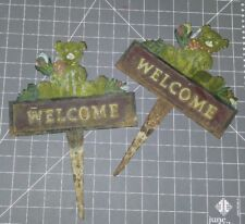 Lot of 2 ANTIQUE vintage bear LAWN WELCOME STAKE SIGN METAL CAST IRON flowers
