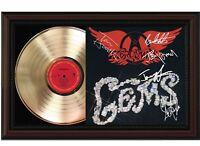 "Aerosmith Framed Cherry wood Reproduction Signature LP Record Display. ""M4"""