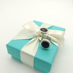 Rare Tiffany & Co. Sterling Silver Paloma Picasso Black Onyx Round Cufflinks