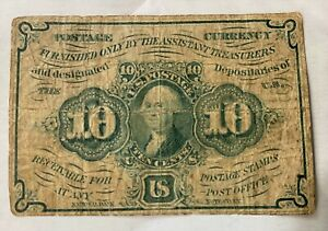 """1862 United States 10 Cents FIRST ISSUE Fractional Currency """"Shinplaster"""" Note"""