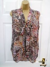 MISS SELFRIDGE Ladies Size 12 Grey Pink Multi Animal Sleeveless Pussy Bow Blouse