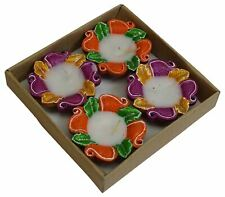 Set of 4 Pieces Decorative Diwali Clay Diya Traditional Earthen Oil Lamp Indian