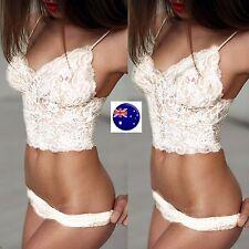 Women Lady Fancy White Sexy see through wireless Lace Bra Panties Lingerie set