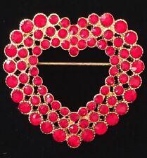 "NIB MONET RED RHINESTONE VALENTINES DAY LOVE HEART PIN BROOCH JEWELRY 1.75"" 3D"