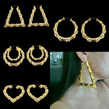 New Large Bamboo Joint Hoop Earrings Hip-Hop Gold Tone Lady Big Circle Hoops 9cm