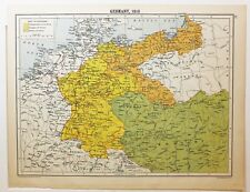 MAPPA STORICA GERMANIA 1810 Regno di Sassonia Baviera WESTFALIA Meclemburgo