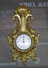 Horloge murale Cygne en or avec Thermomètre Aspect ancien 38x65cm BAROQUE